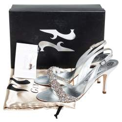 Gina Silver Swarovski Crystal Embellished Leather Naomi Slingback Sandals Size 39