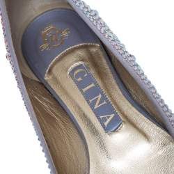 Gina Purple Crystal Embellished Satin Ballet Flats Size 38.5