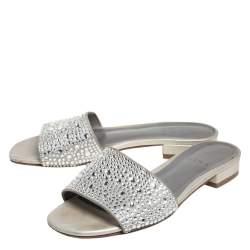 Gina Grey Leather Crystal Embellished Slide Sandals Size 37.5