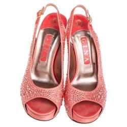 Gina Peach Satin Crystal Embellished Platform Peep Toe Slingback Sandals Size 38.5