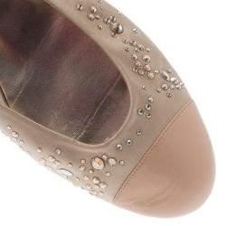 Gina Beige Studded Satin Cap Toe Ballet Flats Size 41