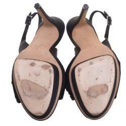 Gina Black Satin Brooch Embellished Slingback Sandals Size 39.5