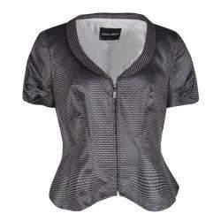 Giorgio Armani Dark Grey Dotted Jacquard Short Sleeve Zip Front Jacket L