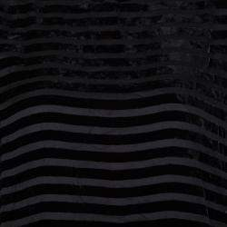 Giorgio Armani Black Striped Velvet High Neck Long Sleeve Blouse S