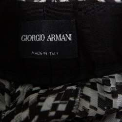 Giorgio Armani Monochome Printed Silk Optical Pants M
