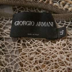 توب جورجيو أرماني دانتيل كريمي بدون أكمام مقاس متوسط - ميديوم