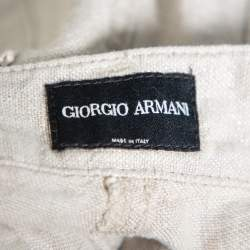 Giorgio Armani Silver Linen Logo Embellished Straight Leg Pants M