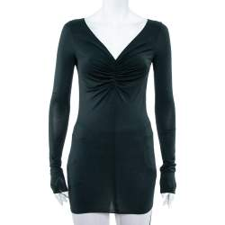 Emporio Armani Dark Green Ruched Knit Fitted Tunic S