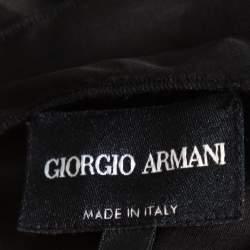 Giorgio Armani Black Silk Organza Pleated One Shoulder Top L