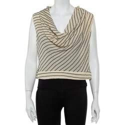 Giorgio Armani Bicolor Striped Silk Sleeveless Cowl Neck Top M