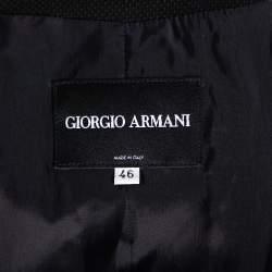 Giorgio Armani Black Textured Wool Bow Detail Button Front Blazer L