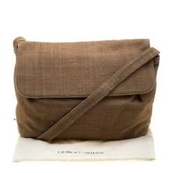Giorgio Armani Light Brown Jute Shoulder Bag