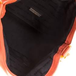 Giorgio Armani Orange Leather and Acrylic Chain Shoulder Bag