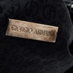 Giorgio Armani Black Suede and Leather Tassel Shoulder Bag