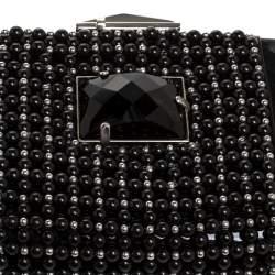 Giorgio Armani Black Beaded Embellished Patent Leather Clutch