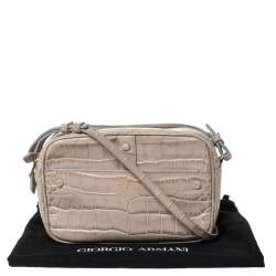 Giorgio Armani Beige Crocodile Embossed Leather Double Zip Crossbody Bag
