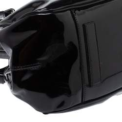Giorgio Armani Black Patent Leather Frame Satchel