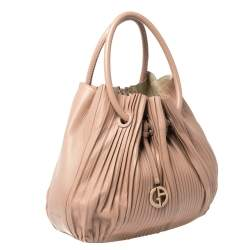 Giorgio Armani Pink Gathered Leather Hobo