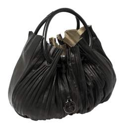 Giorgio Armani Black Leather Pleated Hobo