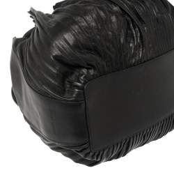 Giorgio Armani Black Leather Pleated Hobo