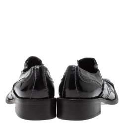 Giorgio Armani Black Patent Leather Stitch Detailed Slip On Loafer Size 38.5