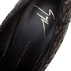Giuseppe Zanotti Black Lace Sequin Embellished Glitter Fabric Peep Toe Platform Pumps Size 39.5