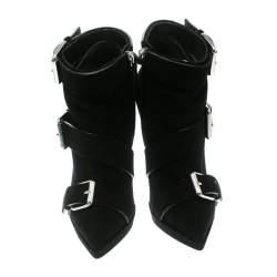 Giuseppe Zanotti Black Buckled Suede Platform Ankle Boots Size 37