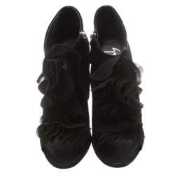 Giuseppe Zanotti Black Suede Peep Toe Silk Ruffle Detail Ankle Booties Size 40.5