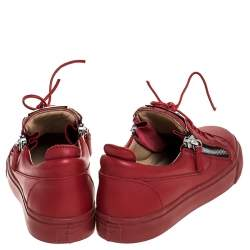 Giuseppe Zanotti Red Leather Double Zip Low Top Sneakers Size 38.5