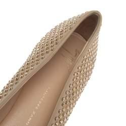 Giuseppe Zanotti Beige Leather Stud Embellished Ballet Flats Size 39