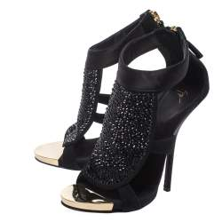 Giuseppe Zanotti Black Satin and Suede Crystal Embellished Ankle Strap Sandals Size 38