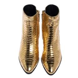 Giuseppe Zanotti Metallic Gold Python Embossed Leather Ankle Boots Size 37