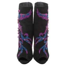 Giuseppe Zanotti Black Suede Phoenix Embroidered Mid Length Boots Size 40