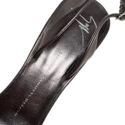 Giuseppe Zanotti Grey Leather Crystal Embellished Slingback Peep Toe Sandals Size 40