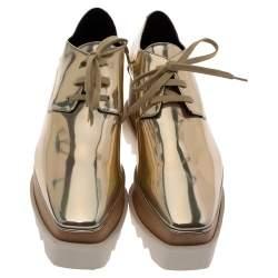 Stella McCartney Metallic Gold Elyse Platform Lace Up Sneakers Size 40