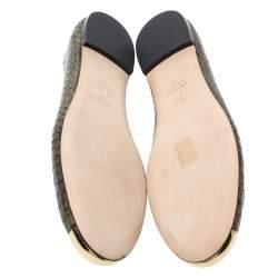 Giuseppe Zanotti Green Python Embossed Leather Malika Cap Toe Ballet Flats Size 41