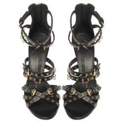 Giuseppe Zanotti Black Leather Eyelet Ankle Strap Wedge Sandals Size 36