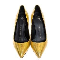 حذاء كعب عالى مقدمة مدببة جلد نقش ثعبان  ذهبى ميتالك مقاس 36