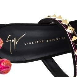 Giuseppe Zanotti Black Studded Suede Coline Pom Pom Embellished Ankle Strap Sandals Size 40