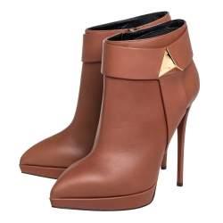 Giuseppe Zanotti Brown Leather Pyramid Stud Platform Ankle Boots Size 41