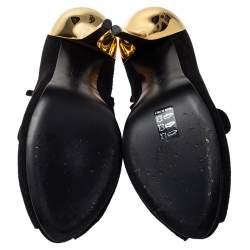 Giuseppe Zanotti Black Suede Zipper Detail Ankle Boots Size 41