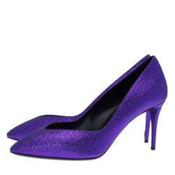 Giuseppe Zanotti Purple Glitter Olinda V Throat Pumps Size 39