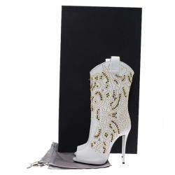 Giuseppe Zanotti White Studded Leather Coline Peep Toe Mid Calf Boots Size 37
