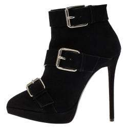 Giuseppe Zanotti Black Buckled Suede Platform Ankle Boots Size 38
