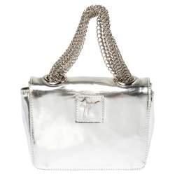 Giuseppe Zanotti Metallic Silver Leather Mini Multi Chain Top Handle Bag