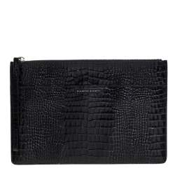 Giuseppe Zanotti Black Croc Embossed Leather Clutch