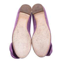 Guissepe Zanotti Purple Satin Rose Detail Ballet Flats Size 37.5