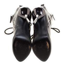Giuseppe Zanotti Black Leather Lace Up Boots Size 37