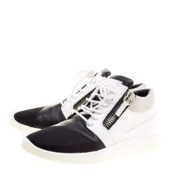 Giuseppe Zanotti Monochrome Leather and Mesh Megatron Lace Up Sneakers Size 40