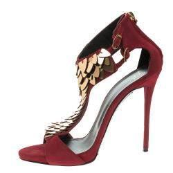 Giuseppe Zanotti Cherry Red Embellished Suede Peep Toe Sandals Size 37.5